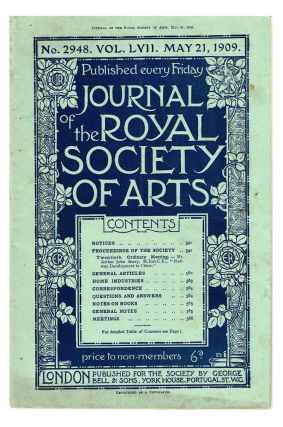 Journal of the Royal Society of Arts. Vol. lvii No 2948 : May 21, 1909 (Chinese Railways). Arthur...