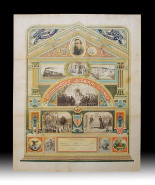 19th Century American Brotherhood of Locomotive Firemen Allegorical Chromolithographic Broadside....
