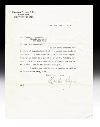 Letter of Introduction from Charles Hayden to J.B. Herreshoff, Jr. (TLS, New York - Boston Bankers). Charles Hayden, Stone Hayden, Co.