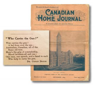 "Canadian Home Journal. Vol. VI No. 6 - December, 1899 (""Who Carries the Gun?"" by Dr. Conan Doyle). A. C. Doyle, H. Russell Halton."