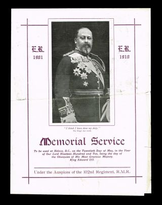 King Edward VII Memorial Service : Nelson, B.C. Friday, May 20th, 1910. B. C. City of Nelson.