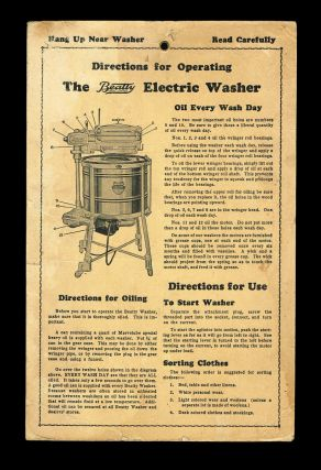 Directions for Operating the Beatty Electric Washer (c. 1930). Beatty Brothers Limited