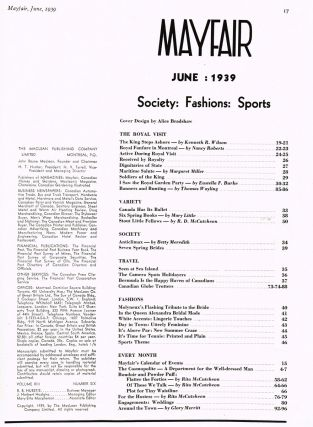 Mayfair - Society : Fashions : Sports. Vol. 13 No. 6 June, 1939. J. Herbert Hodgins, Managing, Margaret Miller, R. D. McCutcheon, Thomas Wayling.