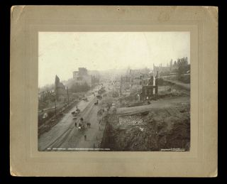 Photograph of Columbia Street in New Westminster, B.C. after the Devastating Fire of 1898 by S. J. Thompson