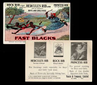 Fast Blacks (Black Americana Hosiery Advertising, Trade Card). Chas. Chipman's Sons, Printer?