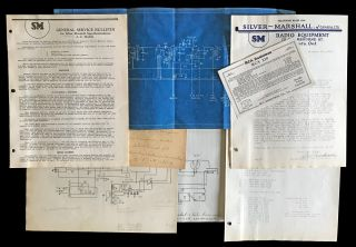 Silver-Marshall Typed Letter Signed, Silver-Marshall General Service Bulletin, Blue Print...