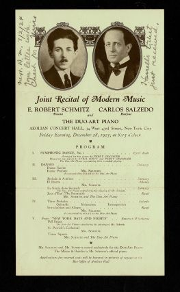 Concert Handbill - Claude Debussy and Maurice Ravel] 1923 Joint Recital of Modern Music at the...