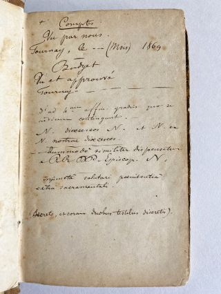 Belgian Printer or Publisher's French & Latin Dos-à-Dos Holograph Notebook for Business Activities c. 1850