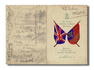 Hand Colored Dinner Menu w. 30 Autographs] Boy Scouts Cambridge & District Association Dinner at...