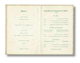 [Hand Colored Dinner Menu w. 30 Autographs] Boy Scouts Cambridge & District Association Dinner at the Lion Hotel. Saturday May 11th, 1912