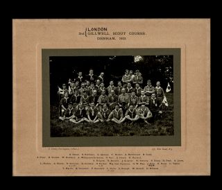 Gilwell Park, Boy Scouts] 2nd London Gillwell Scout Course. Denham, 1923. J. Irving Farringdon,...