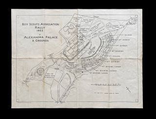 Map of 1922 Boy Scouts Association Rally at Alexandra Palace & Grounds, London. Boy Scouts...