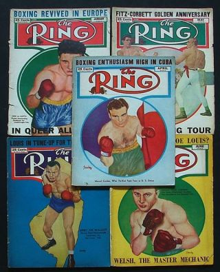 The Ring. World's Foremost Boxing Magazine: January, April, May, June & July 1947 (five issues). Nathaniel Fleischer.