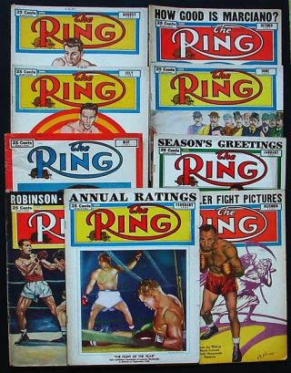 The Ring. World's Foremost Boxing Magazine: January, February, April, May, June, July, August, October, & December 1951 (nine issues). Nathaniel Fleischer.